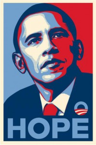 Iconic campaign poster of Barack Obama