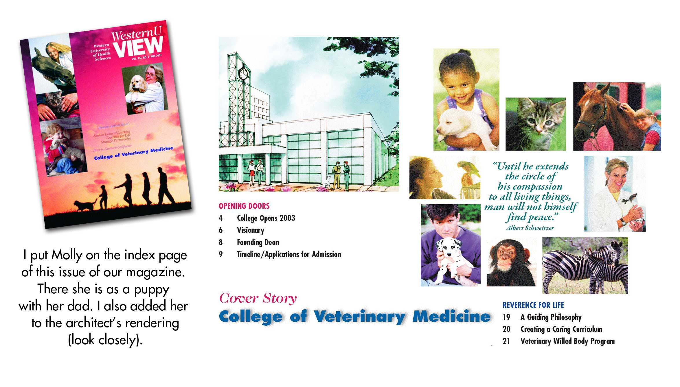 Our puppy in the WesternU View magazine