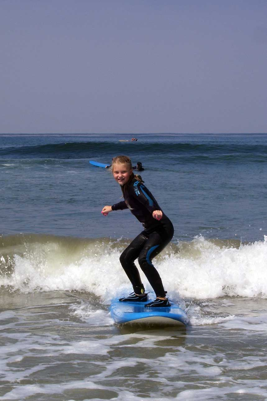 Catching a wave at San Elijo State Beach