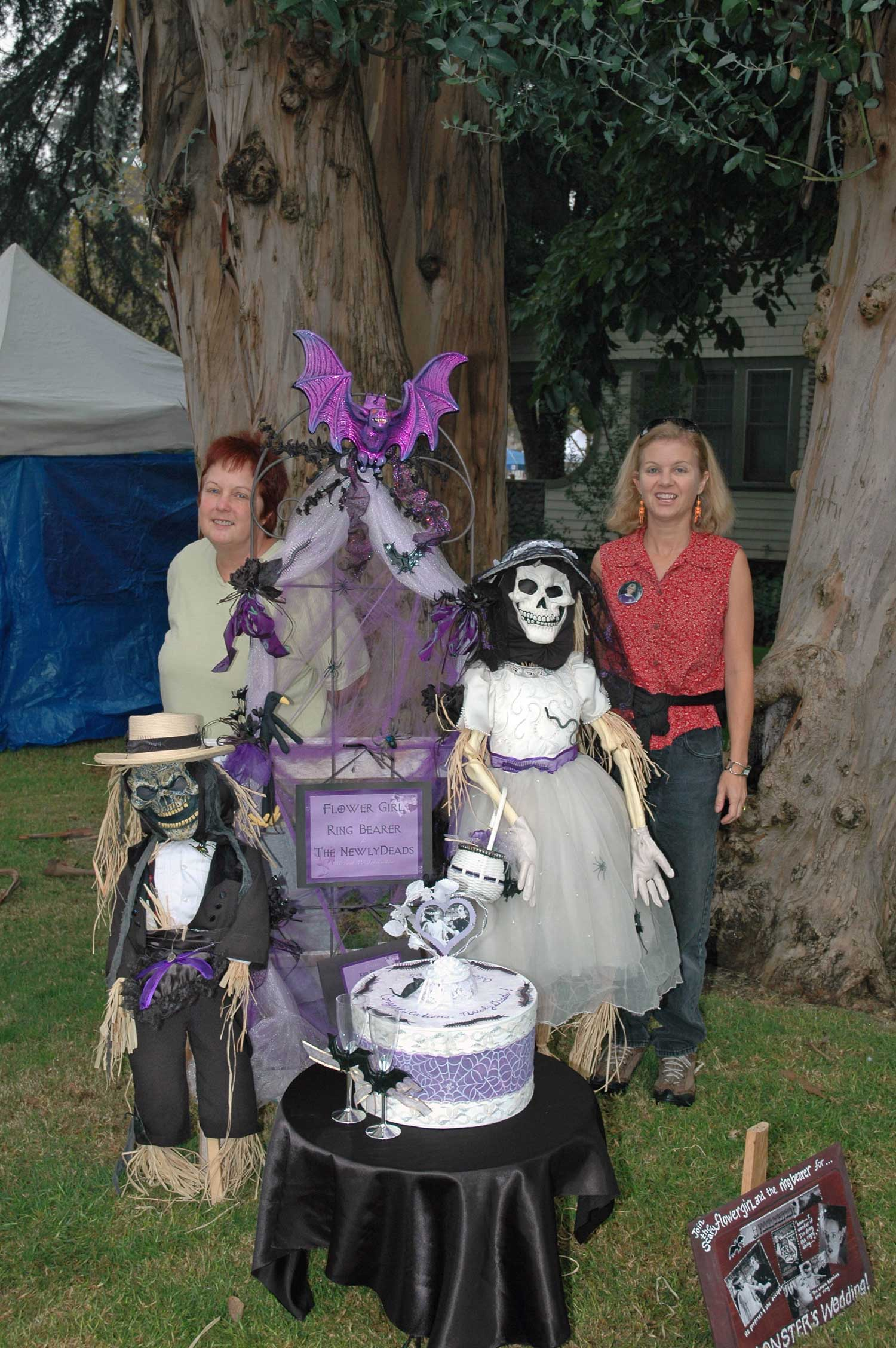 The artists with their winning scarecrow design