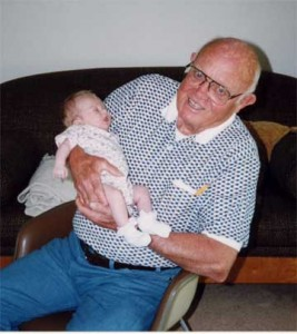 My dad was almost 80 when he first became a grandfather. He is holding my daughter, Shea, at 1 month.