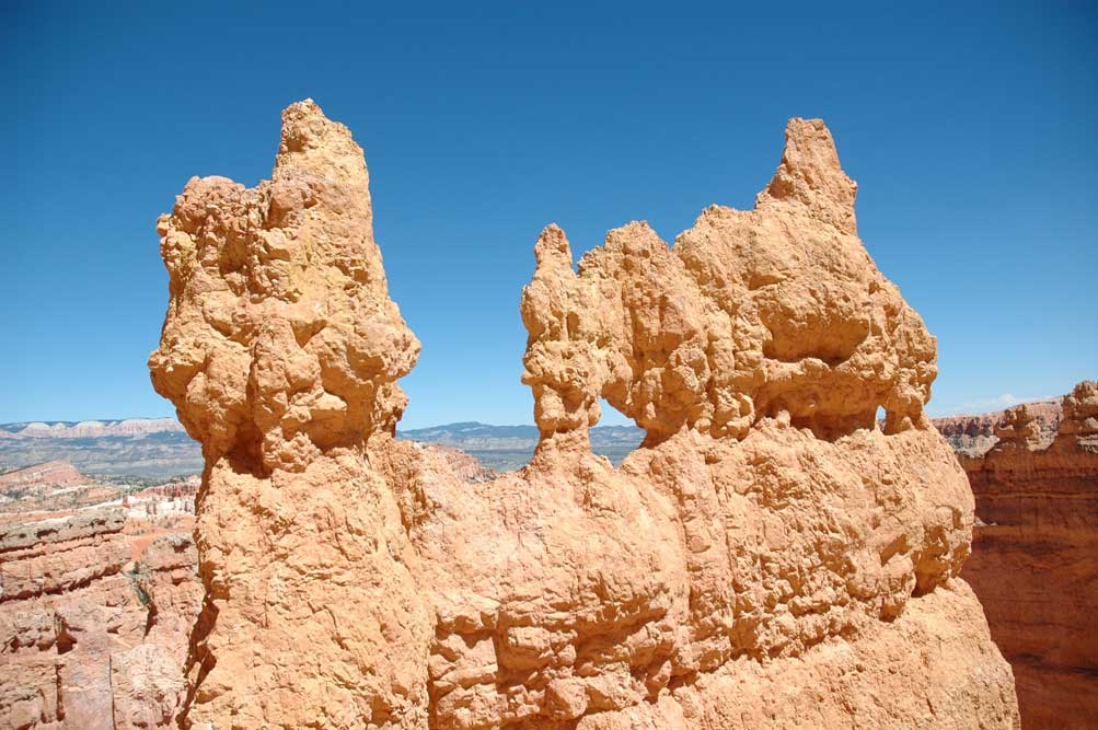 Hoodoos form strange sculptures that look as if they could topple over any minute.