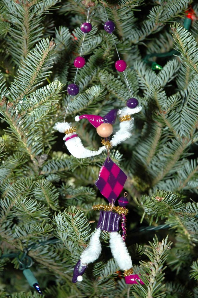 Jester ornament made of Sculpey, pipecleaners, copper wire by Kim.